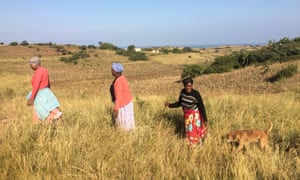 Xolobeni villagers returning home after a protest meeting.