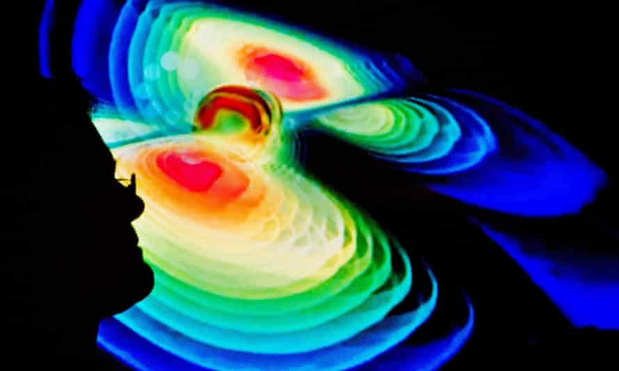 A scientist described a visualisation of gravitational waves at the Max Planck Institute for Gravitational Physic.