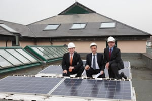 Michael Gove and Greg Barker on a solar energy visit to Barnes primary school, April 2014.