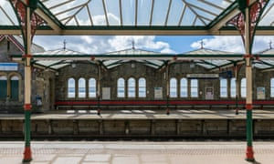 the distinctive metalwork of Grange-over-Sands station.