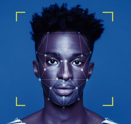 Facial Recognition Technology<br>Facial Recognition System, Concept Images. Portrait of young man.