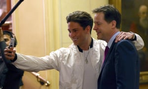 Nick Clegg poses for a picture with Joey Essex, from The Only Way is Essex.