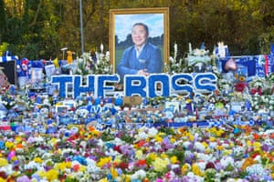 Floral tributes to Leicester's late chairman Vichai Srivaddhanaprabha at King Power Stadium aheads of the Premier League match between Leicester City and Burnley.
