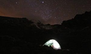 Camp below Stubel Glacier on Chimborazo.