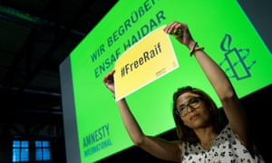 Ensaf Haidar, the wife of jailed Saudi blogger Raif Badawi, at the annual meeting of the German section of Amnesty International in Dresden, Germany on 23 May 2015.
