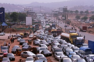 Traffic as people attempt to rush out of Abuja, Nigeria.