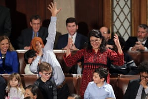 Rashida Tlaib as her son dabs.