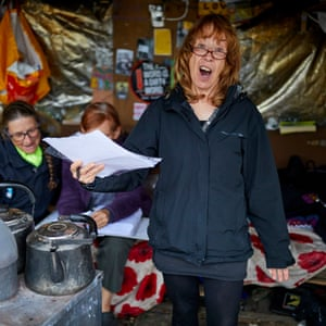 Women defiantly singing protest songs at their camp outside Cuadrilla's fracking well at Little Plumpton.