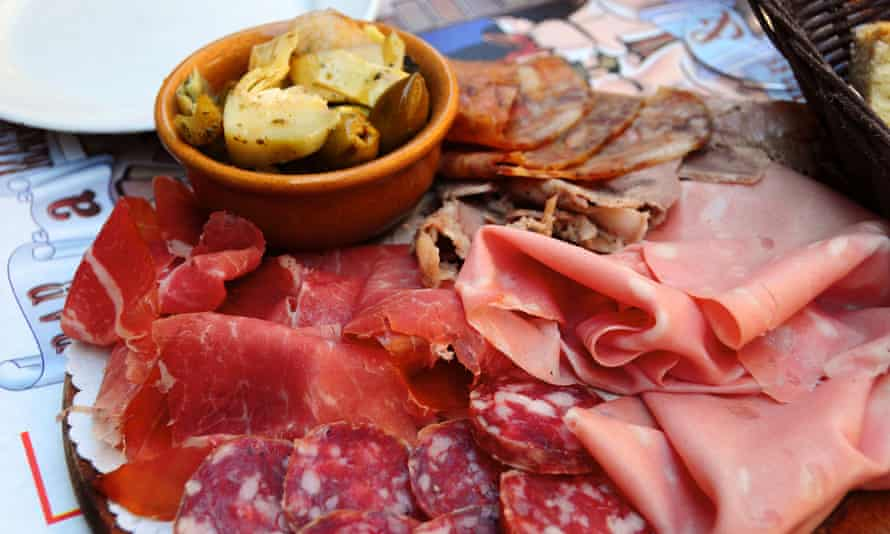 The platter of tiny meats … a plate of salumi di Parma