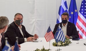 US secretary of state Mike Pompeo, left, and Greek prime minister Kyriakos Mitsotakis hold a meeting during their visit at the Naval Support Activity base at Souda, on the Greek island of Crete.