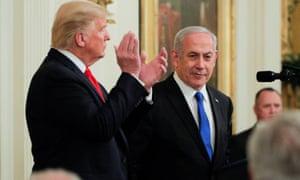 President Trump applauds Benjamin Netanyahu in Washington