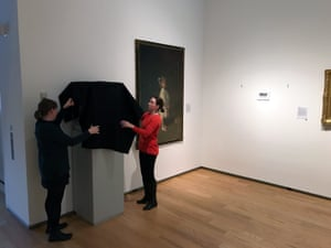 Artwork in the museum is covered up