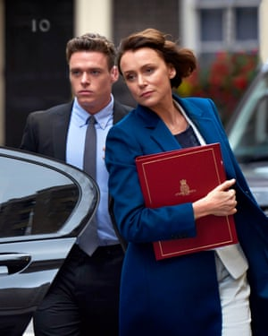 Richard Madden as David Budd and Keeley Hawes as Julia Montague in Bodyguard.