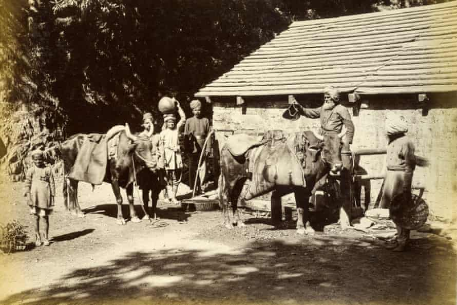 Water Carriers in Mussoorie c1880. Photograph supplied by the Samuel Bourne Centre for South Asian Studies, from the Fullerton Collection