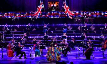 Conductor Dalia Stasevska with a reduced orchestra  who performed live at the Royal Albert Hall but without an audience due to coronavirus restrictions.