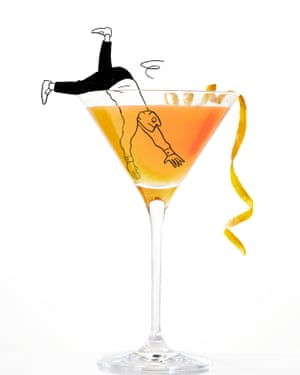 Illustration of person diving into cocktail
