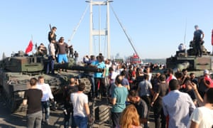 Turkish demonstrators on the Bosphorus Bridge, where the attempted coup began.
