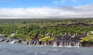 Hraunfossar falls.