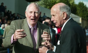 Sir Roger Bannister and John Landy at a ceremony at the Iffley Road running track in Oxford to mark Bannister's four-minute mile.
