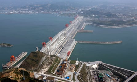 Aerial view of the Three Gorges dam on the Yangtze river, the biggest such project on earth.