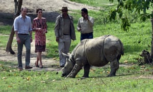 Prince William and the Duchess of Cambridge, together with park rangers, encounter a one-horned rhino at the wildlife rehabilitation centre in Kaziranga national park.