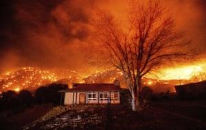 Mono County, CaliforniaEmbers burn along hillsides as the Mountain View Fire tears through the Walker community