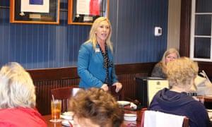 Marjorie Taylor Greene speaks to a GOP women's group in Rome, Georgia, in March.