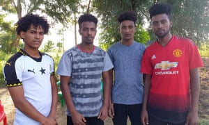 The Eritrean footballers in hiding in Uganda, photographed this week. From left, Hanibal Tekle, Hermon Yohannes, Simon Asmelash and Mewael Yosief.