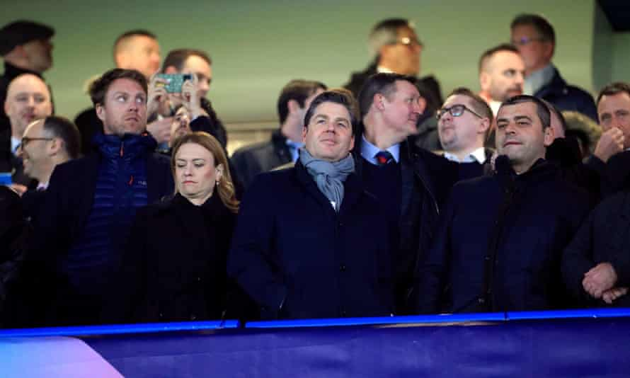 Richard Masters (centre) at a Premier League game in February 2020.