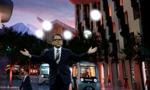 Toyota's Akio Toyoda unveiling the plan for Woven City
