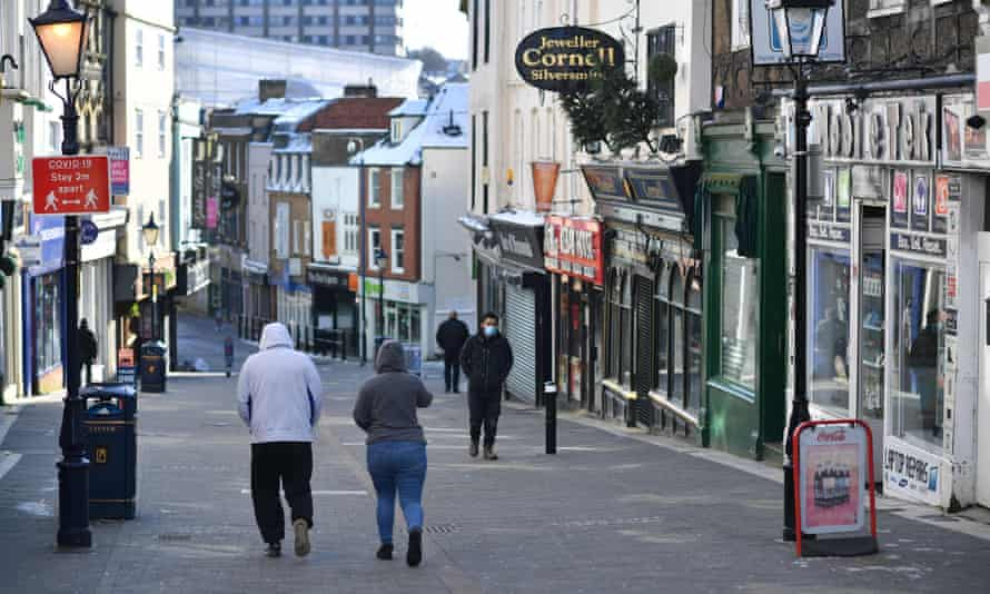 a high street with the shops closed in Maidstone, February 12, 2021