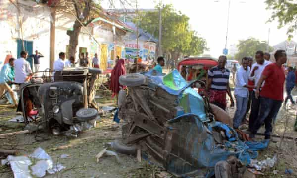 Devastation following a car bomb in Mogadishu on 23 March.
