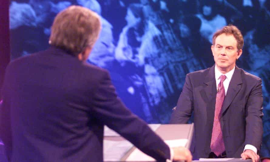 Tony Blair being grilled by David Dimbleby live on TV in 2001