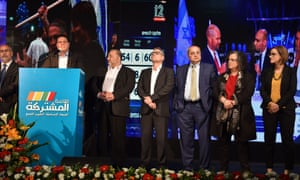 Ayman Odeh, chairman of the Arab-Israeli Joint List, speaks at the alliance's election campaign headquarters in Shefa-'Amr.
