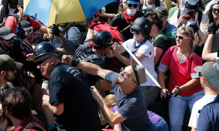 White nationalist demonstrators clash with counter demonstrators in Charlottesville, Virginia in August 2017.