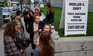 Taylor Swift fans wait outside Denver federal court where the Taylor Swift groping trial jury selection has resumed.