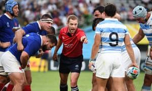 The Australian referee Angus Gardner during the France v Argentina game.