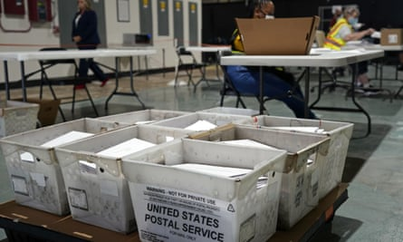 Workers prepare absentee ballots for mailing at the Wake county board of elections in Raleigh, North Carolina, last month.