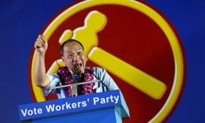 Opposition Workers' party secretary general Low Thia Khiang speaks during an election campaign rally.