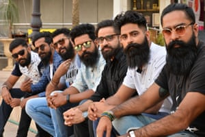 Bangalore, IndiaContestants pose for a photograph during a beard and moustache competetion organised by the Bangalore Beard Club