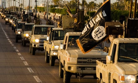 Isis fighters parade through Sirte, Libya