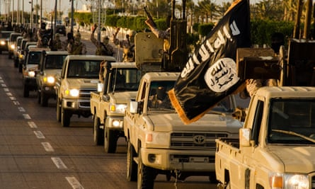 Islamists allied to Islamic State parade in the Libyan city of Sirte.