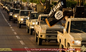 Image from a propaganda website allegedly shows a column of Isis fighters in the Libyan port of Sirte.