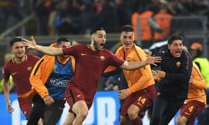 Kostas Manolas celebrates after scoring the winning goal.