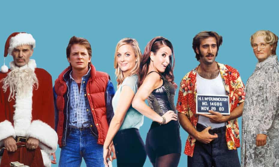 From left: Bad Santa, Back to the Future, Sisters, Raising Arizona, Mrs. Doubtfire.