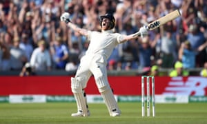 Stokes celebrates hitting the winning runs to win the 3rd Test match.