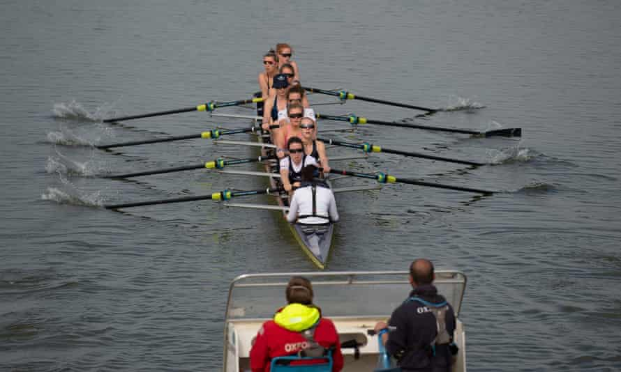 Oxford University women's boat club train on the River Great Ouse near Ely in Cambridgeshire ahead of the 2021 Boat Race.