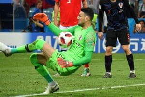Croatia's goalkeeper Danijel Subasic saves a shot.