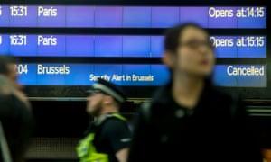 Eurostar board at St Pancras station.