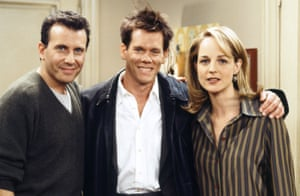 Helen Hunt with (left) Paul Reiser as her husband and Kevin Bacon as himself in Mad About You.